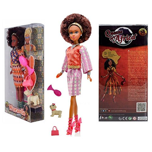 Queens Of Africa Black Doll Wuraola Curly Natural Hair Black Barbi Brown Backpack
