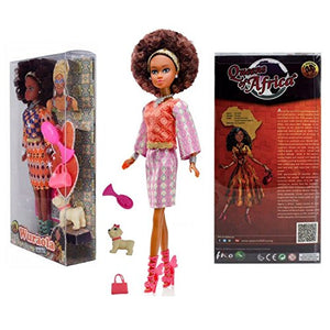 Queens of Africa Black Doll - WURAOLA (Curly/Natural Hair) Black Barbie Doll - High Quality Authentic African American Girl Doll For Kids