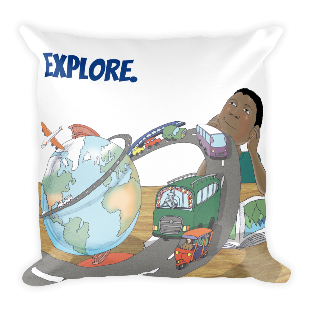 Explore Square Pillow (Boy)
