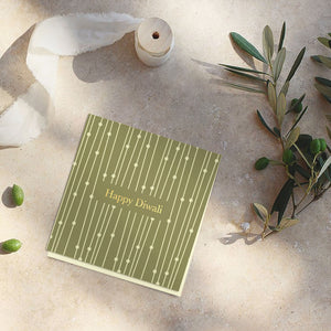 Pale Green diwali note cards (foiling) <br/> (set of 10)