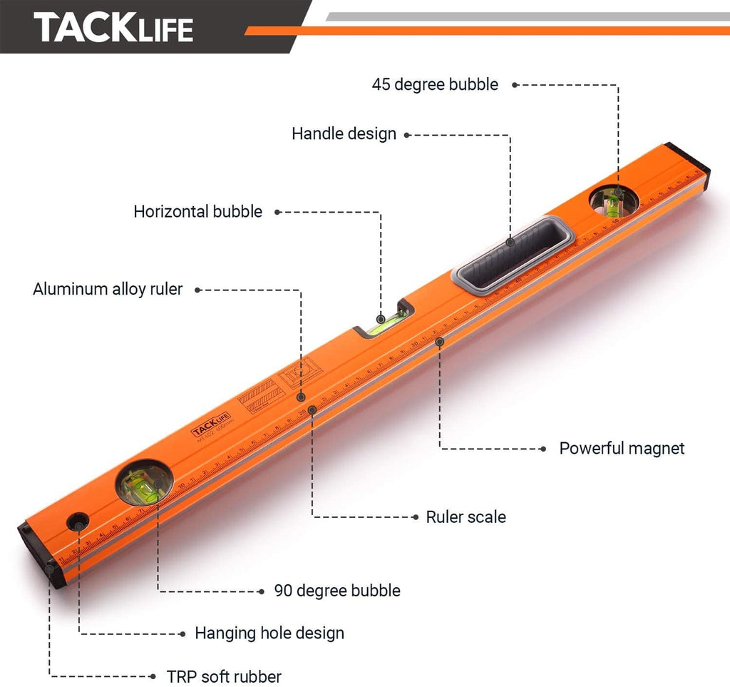 TACKLIFE Level 24-Inch Aluminum Alloy Magnetic Torpedo Level Plumb/Level/45-Degree, Measuring Shock Resistant Spirit Level with Standard Rulers