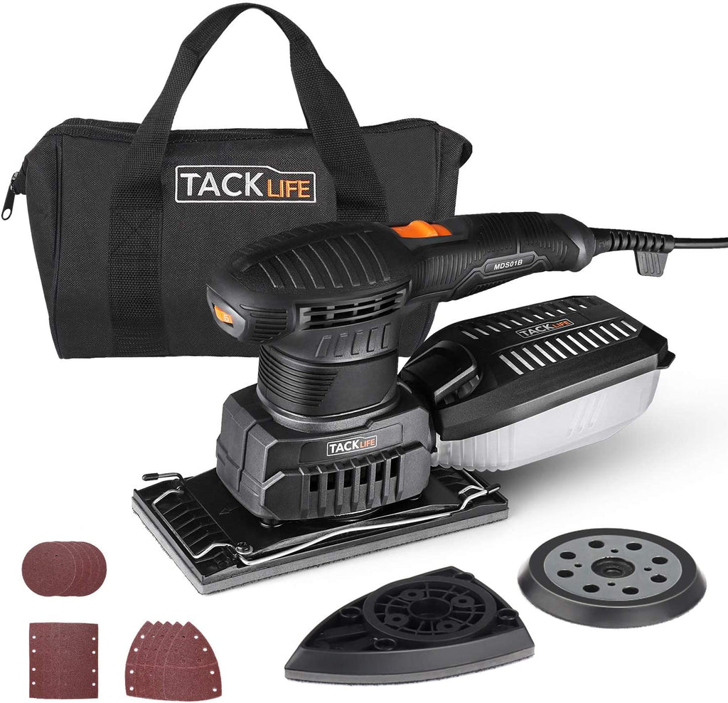 TACKLIFE Orbital Sander, 3 in 1 Electric Sander with 15 Pcs Sandpapers 6 Variable Speeds 7000RPM-12000RPM, Efficient Dust Collection System Detail Sander Machine DIY for Woodworking-MDS01B