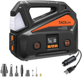 TACKLIFE A6 Plus AC/DC Tire Inflator, Portable Air Compressor with LCD Digital Pressure Gauge up to 150 PSI for Home 110V AC and Car 12V DC, Car Air Pump for Inflatables with LED light