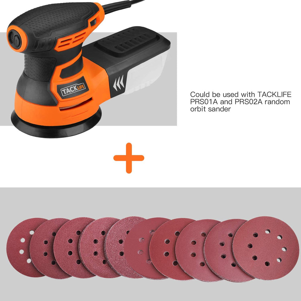 TACKLIFE Sanding Discs 5-Inch 8-Hole 100pcs Hook and Loop Sandpaper, 40/60/80/100/150/180/240/320/400/800 Grits Sandpaper for Random Orbit Sander - ASD1A