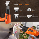 TACKLIFE Heat Gun 1500W 572℉~ 932℉ Dual Temperature Hot Air Gun Kit with Four Metal Nozzle Attachments for Thawing Pipes, Stripping Paint, Loosening Floor Tiles-HGP68AC