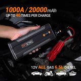 TACKLIFE T8 MAX Jump Starter - 1000A Peak 20000mAh, 12V Car Jumper (All Gas, up to 6.5L Diesel Engine), Auto Battery Booster, Portable Power Pack with Smart Jumper Cables, Storage Case (Black)