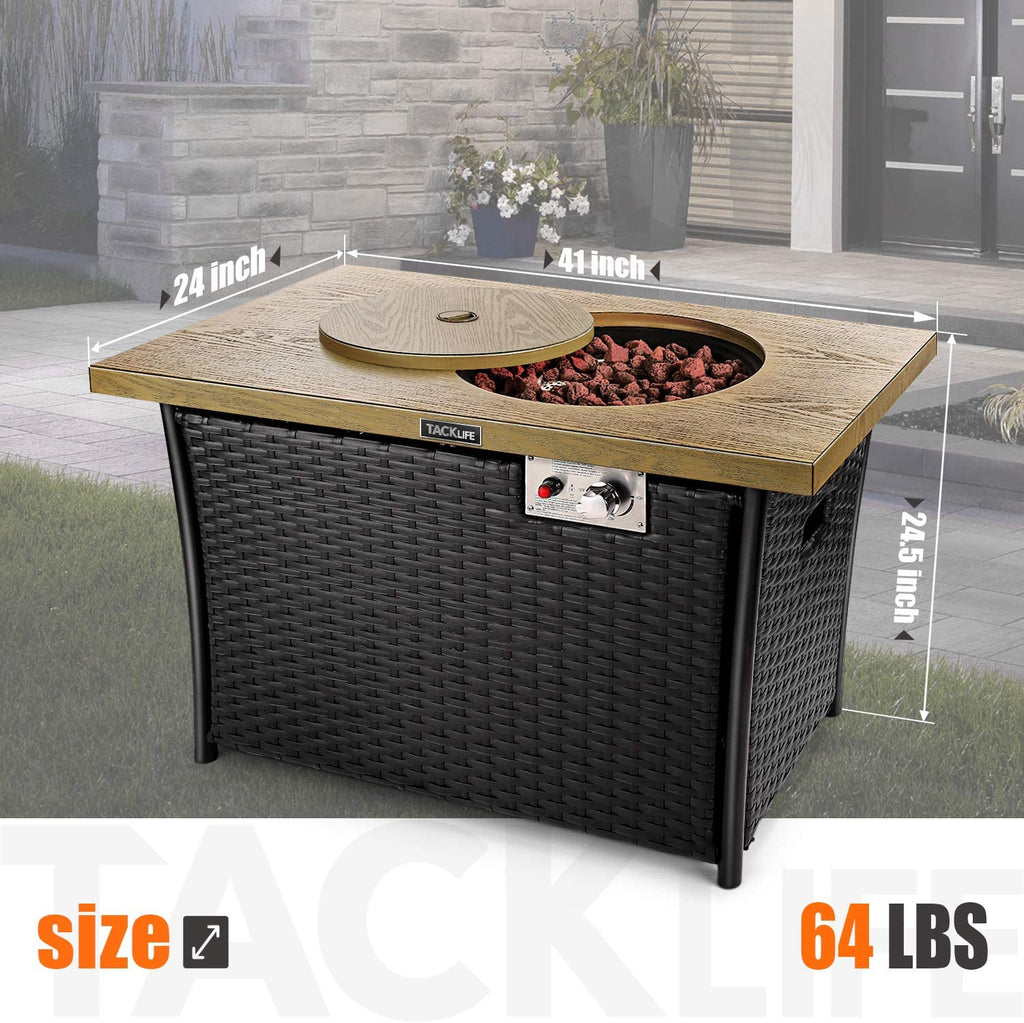 41 Inch Propane Fire Pit Table, TACKLIFE 50000BTU Rectangle Fire Table with Cover, Steel Imitation Wood Grain Surface and Plastic Rattan Coaming, ETL Safety Certified, Companion for Your Garden