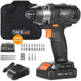 "TACKLIFE 20V MAX Cordless Impact Driver, 180N.m. 60 Pcs Accessories, 2.0Ah Li-ion Battery & 1 Hour Fast Charger, 1/4"" All-Metal Hex Chuck, 0-2800RPM - PID02B"