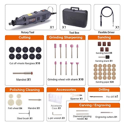Rotary Tool Kit Variable Speed with 60 Accessories-RTD34AC