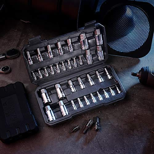 TACKLIFE Master Hex Bit Socket Set, S2 Steel | Metric and SAE | 35-Piece Set - HBS1B