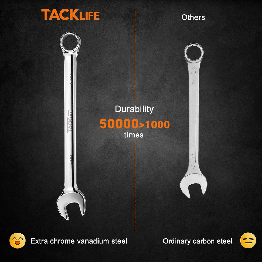 TACKLIFE 32PCS Combination Wrench Set Metric and Standard, 1/4-1 Inch, 7-22MM, Open End and Box End Wrench Set, Chrome Vanadium Steel With Tool Roll
