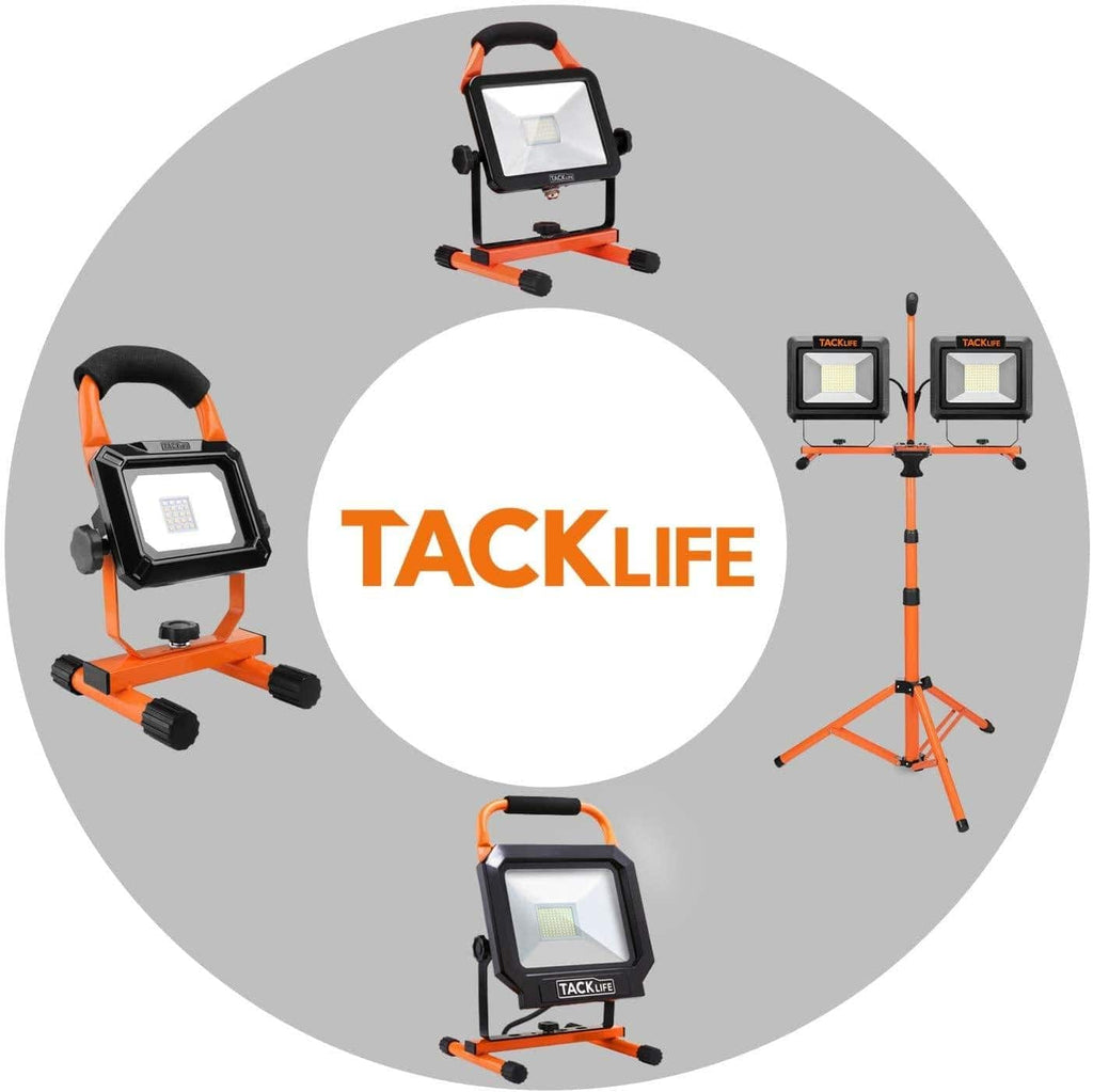 TACKLIFE 140W and 14000LM LED Dual-Head Work Light,Metal Telescopic Tripod,Rotating Waterproof Light and 9.8 Ft Power Cord,Suitable for Large Construction Sites,Workshops