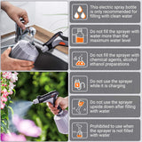 TACKLIFE Electric Plant Mister Spray Bottle, LED 2000mAh, Electric Watering Can with Adjustable Copper Spout, Indoor/Outdoor Plants Gardening, Fertilizing, Cleaning, Multi-Purpose Use Sprayer 1Liter