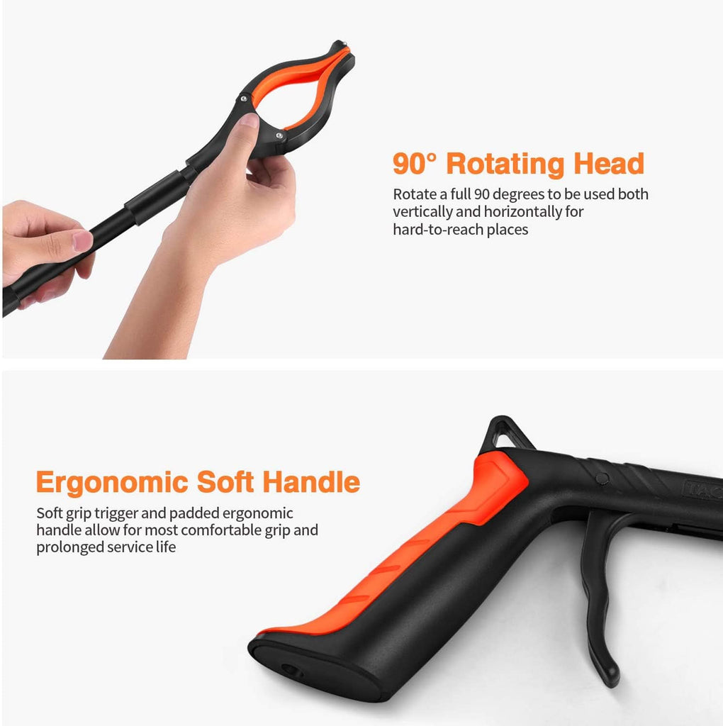 TACKLIFE Reacher Grabber, 0°-180° Angled Arm, 90° Rotating Head, Magnetic Tips, Claw Trash Picker Grabber Tool, Mobility Aid Reaching Assist Tool (30'') - RG01 Orange Head Black Stick