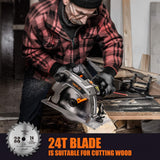 "TACKLIFE Electric Circular Saw with Aluminum Base, 12.5A, 5000 RPM Powerful Motor With Bevel Cuts (0-45°), 2-3/5'' (0°), 1-7/10'' (45°), 2 Blades(7-1/4"" & 7-1/2""), Scale Ruler, Laser Guide- PES03A"