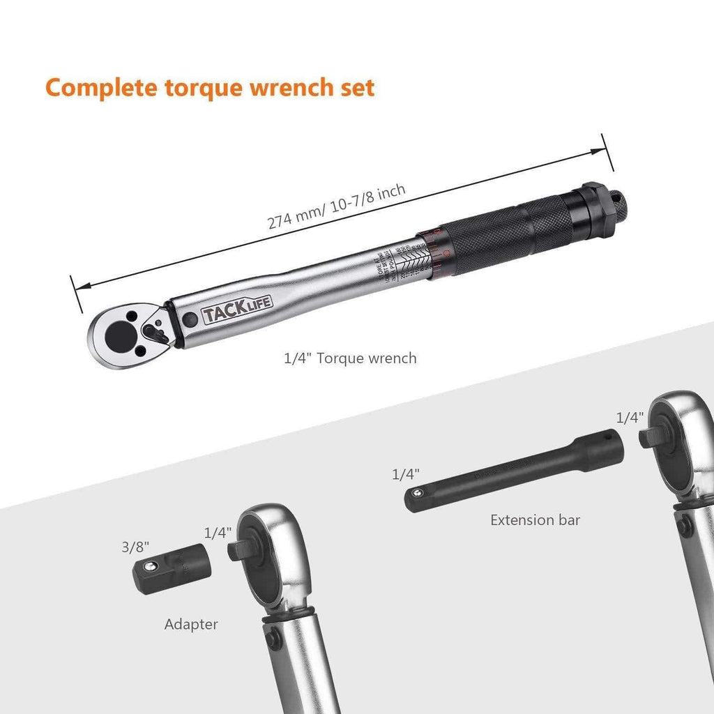 "1/4"" Drive Click Torque Wrench Set 3/8"" Adapter - HTW4A"