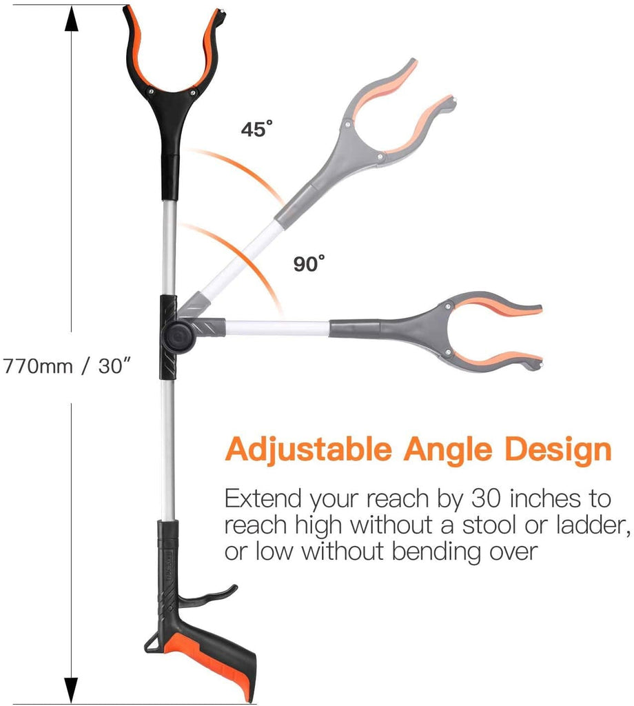 TACKLIFE Upgrade Reacher Grabber Tool, 0°-180° Angled Arm, 90° Rotating Head- RG01