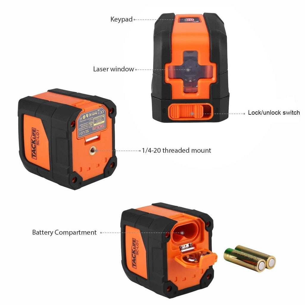 50 Feet Laser Level,Leveling Horizontal and Vertical Cross-Line Laser,Magnetic Mount Base and Carrying Pouch, Battery Included-SC-L01