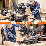TACKLIFE Sliding Compound Miter Saw 12-Inch, 15-Amp, 3800rpm, Double-Bevel Cut (-45°-0°-45°) with Laser Guide - PMS03A