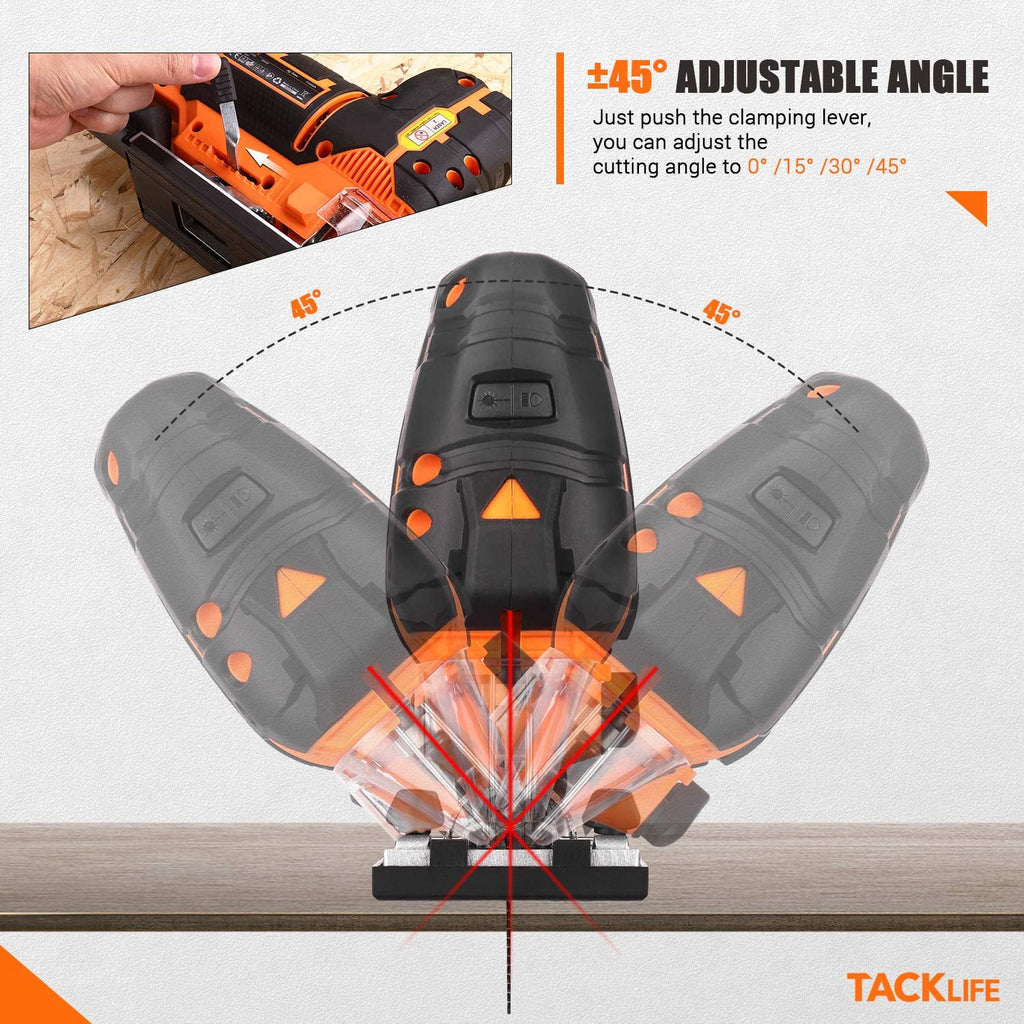TACKLIFE 6.7 Amp Barrel Grip Jigsaw with Laser & LED, Heavy Duty, Variable Speed / 4 Orbital Settings, 6 Blades, Sturdy Case - TJS02A