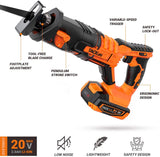 "TACKLIFE 20V MAX Cordless Reciprocating Saw, 2A Lithium Battery & Charger, 0-3000SPM Variable Speed, Tool-Free Blade Change, 4/5"" Stroke Length, Portable Bag - RES004"