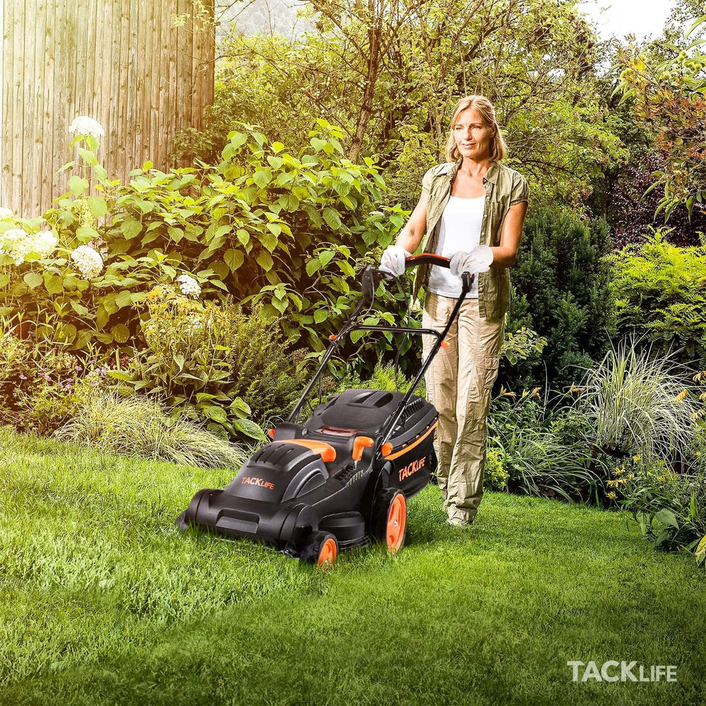 TACKLIFE Lawn Mower, 14 Inch Electric Lawn Mower, 6 Cutting Heights (0.98''-2.95''), Single Lever Adjustable , Tool-Free Installation, Used in Small & Medium Gardens