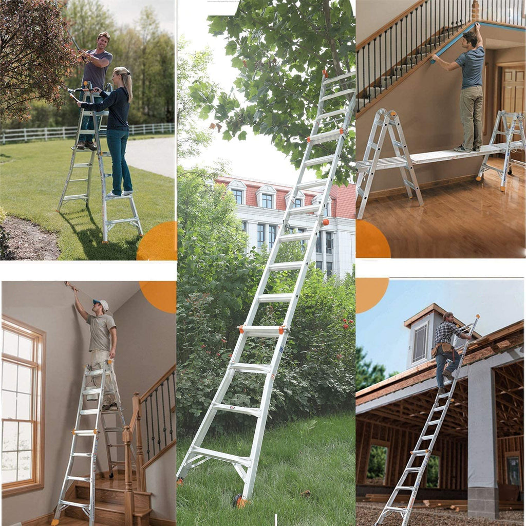 TACKLIFE Extension Ladder, 13-Foot Step Ladder with Safe Protective Switch, Non-Slip Rubber Feet, 300lb Capacity Multi Use Ladder
