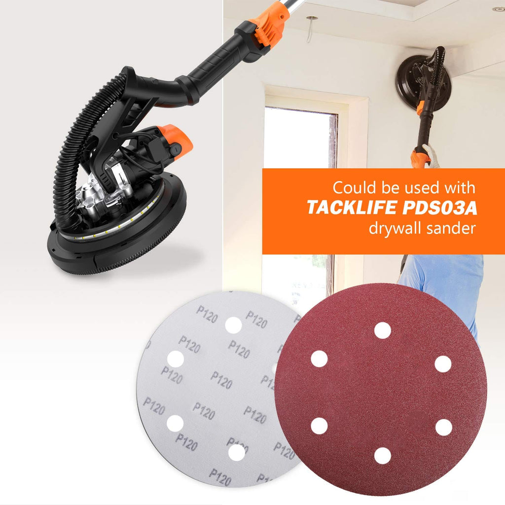 TACKLIFE Sanding Abrasive Discs, 30PCS 9-Inch/225mm 6-Hole for Drywall Sander - ASD5A