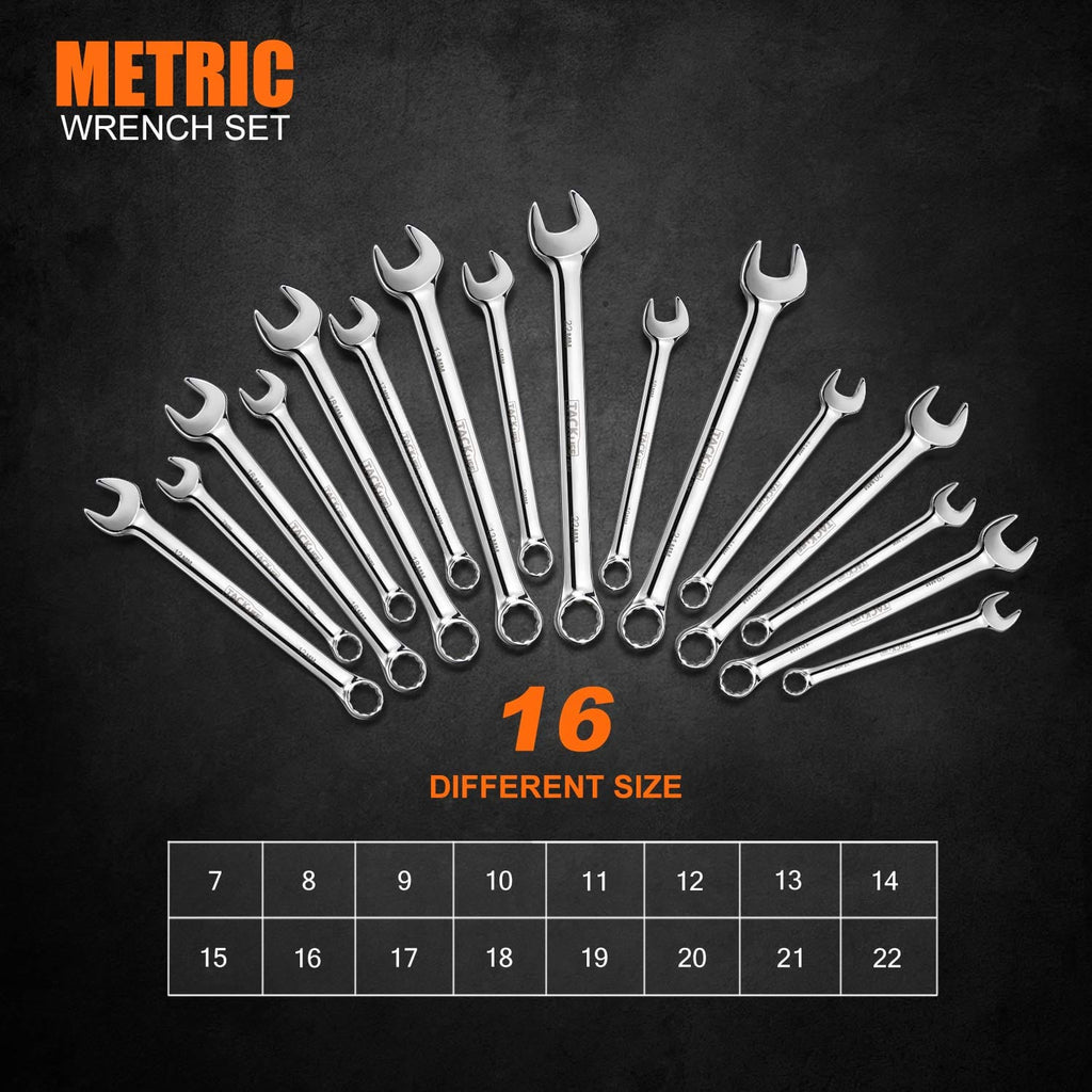 TACKLIFE 16-Piece Metric Combination Wrench Set 7-22MM with Storage Bag - HCW2A