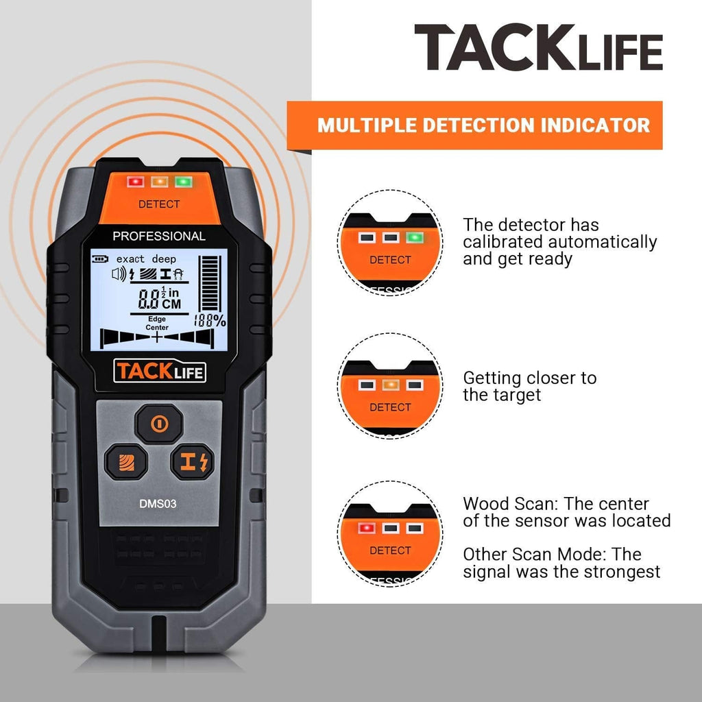 TACKLIFE 4 in 1 Center Finding Electronic Wall Detector Finders - DMS03