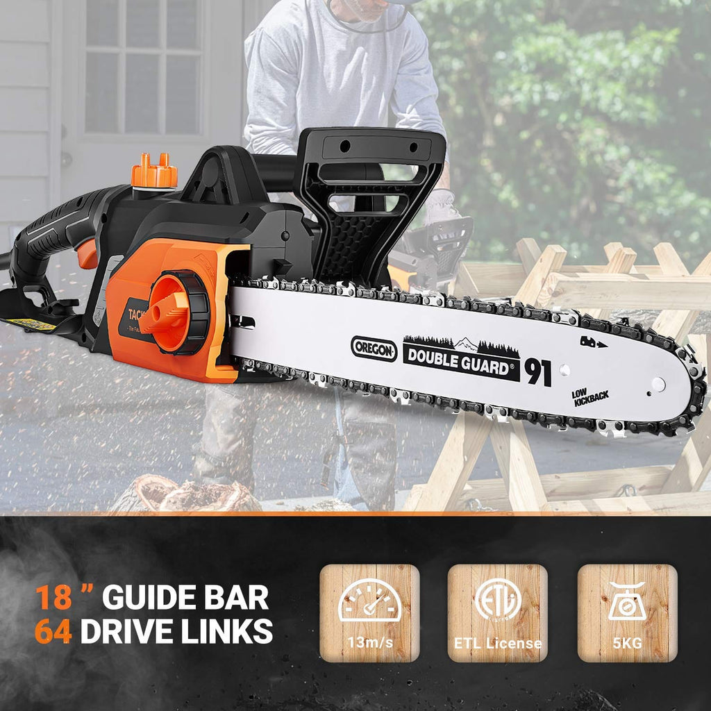 TACKLIFE Electric Chainsaw, 18-Inch Corded, Powerful 15-Amp Copper Motor-GCS15A