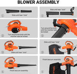 TACKLIFE 3 in 1 Leaf Blower, 12 Amp Blower/Vacuum/Mulcher- KABV35A
