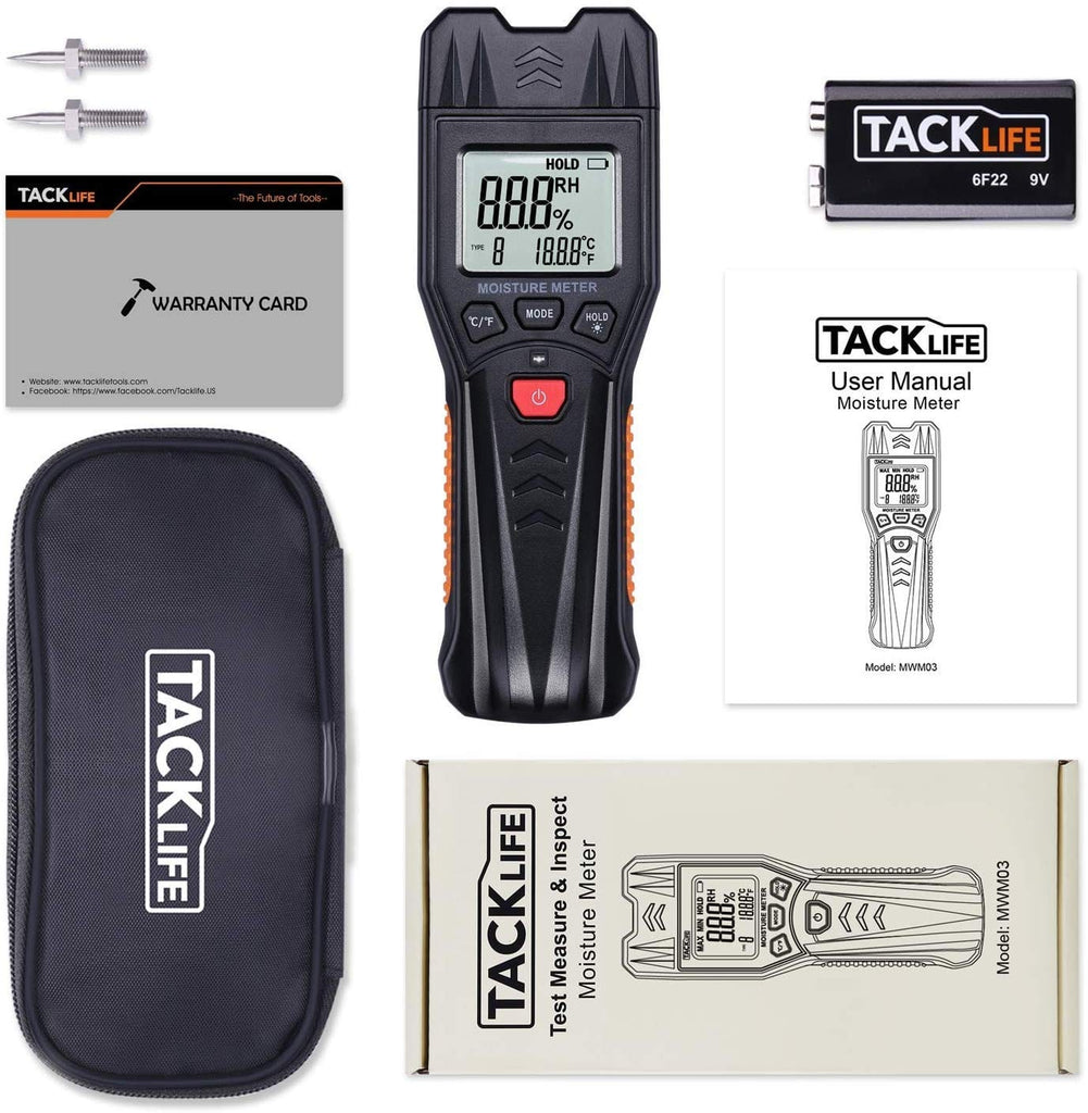 Digital Moisture Meter, Wood Building Materials Moisture Detector, Pin-Type Design with 7 Modes, Light-Indicating, Manual Calibration, Backlit LCD Display - MWM03