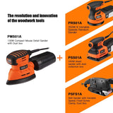 Classic Mouse Detail Sander with 12Pcs Sandpapers, 12,000 OPM Sander, Efficient Dust Collection System-PMS01A