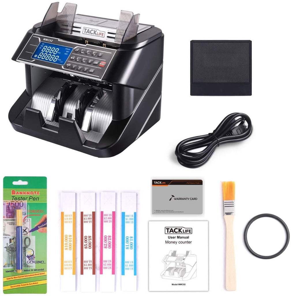Money Counter, Counterfeit Bill Detector Machine MMC02 With UV/MG/IR/MT/DD Detection, Six Operation Modes-MMC02