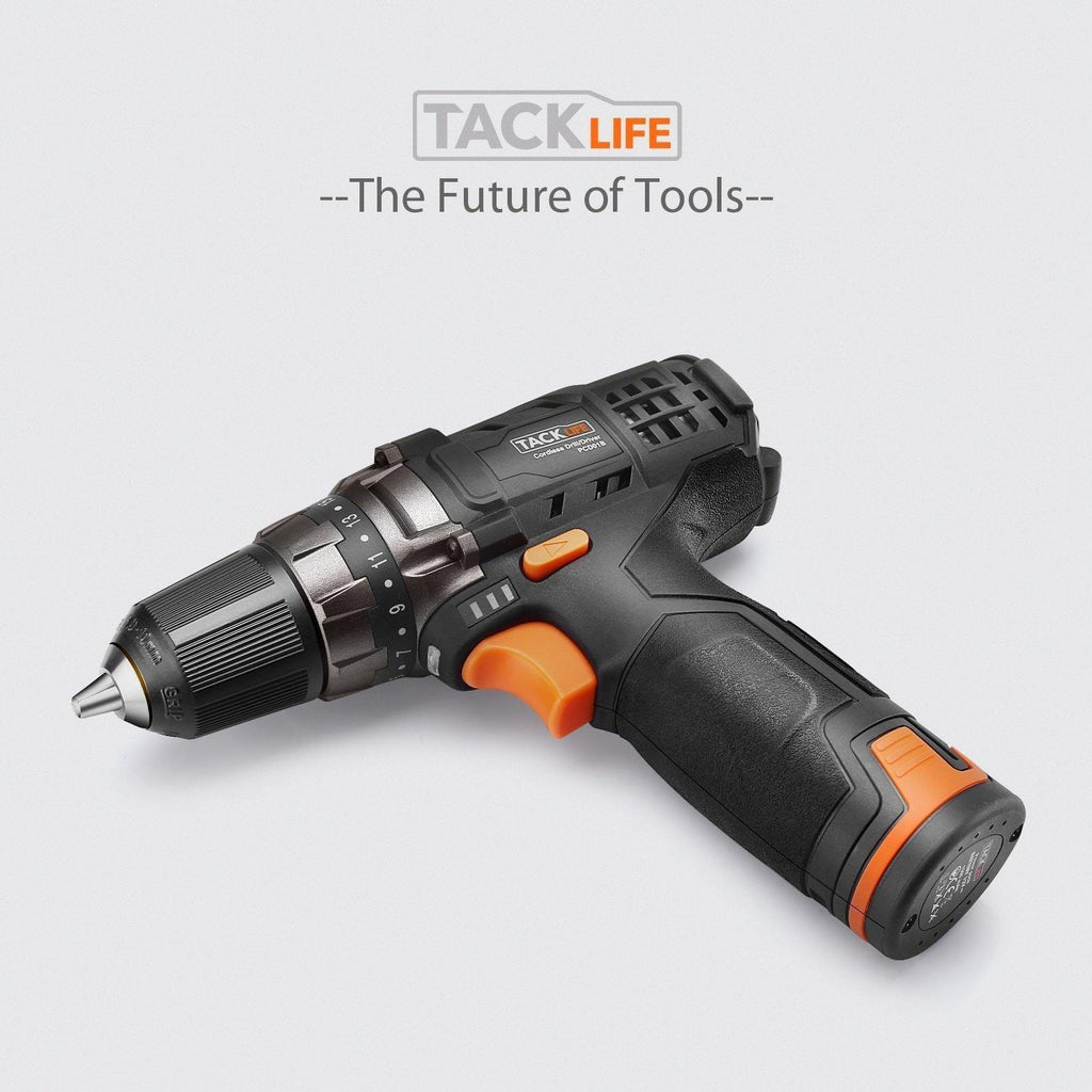 TACKLIFE 12V Cordless Drill Driver with 2 Batteries 3//8' Metal Chuck,2 Speeds