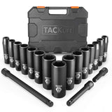 18pcs 1/2-inch Drive Deep Impact Socket Set, 6 Point,10-24mm,15pcs Metric Sockets with 3pcs Extension Bar Set-HIS1A
