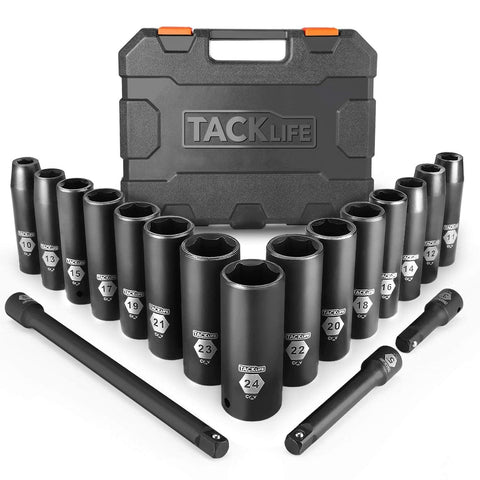 1 / 2-Inch Drive Master Deep Impact Socket Set, sistema metrico, CR-V, 6 Point, 18-Piece Set - HIS1A