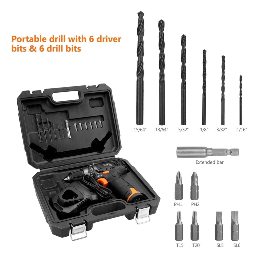 "TACKLIFE 12V Cordless Drill Driver,3/8"" Metal Chuck,2 Speeds Compact Drill Set with 13pcs Accessories,1Hour Fast Charger-PCD01B"