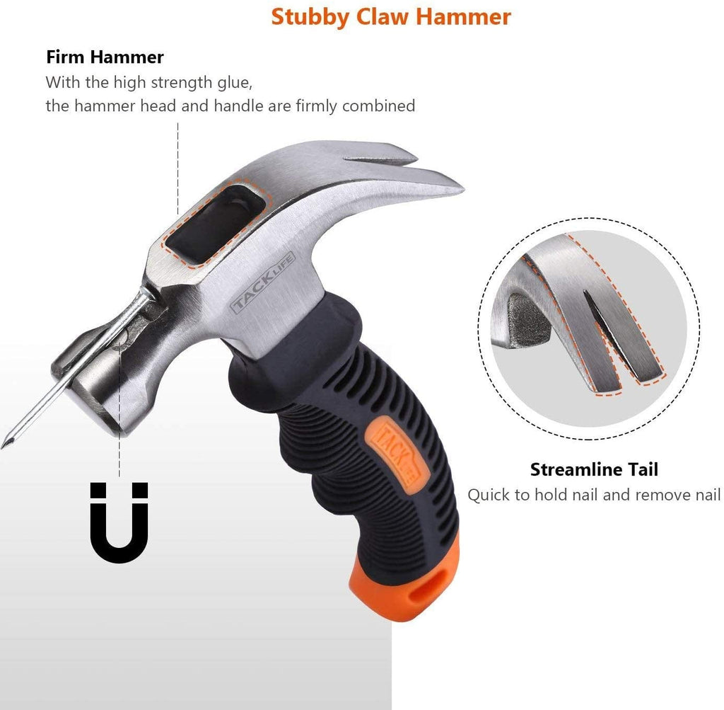 Stubby Claw Hammer with Magnetic Nail Starter 8 Oz Small Mini Hammers and Nails Tool-HMH2A