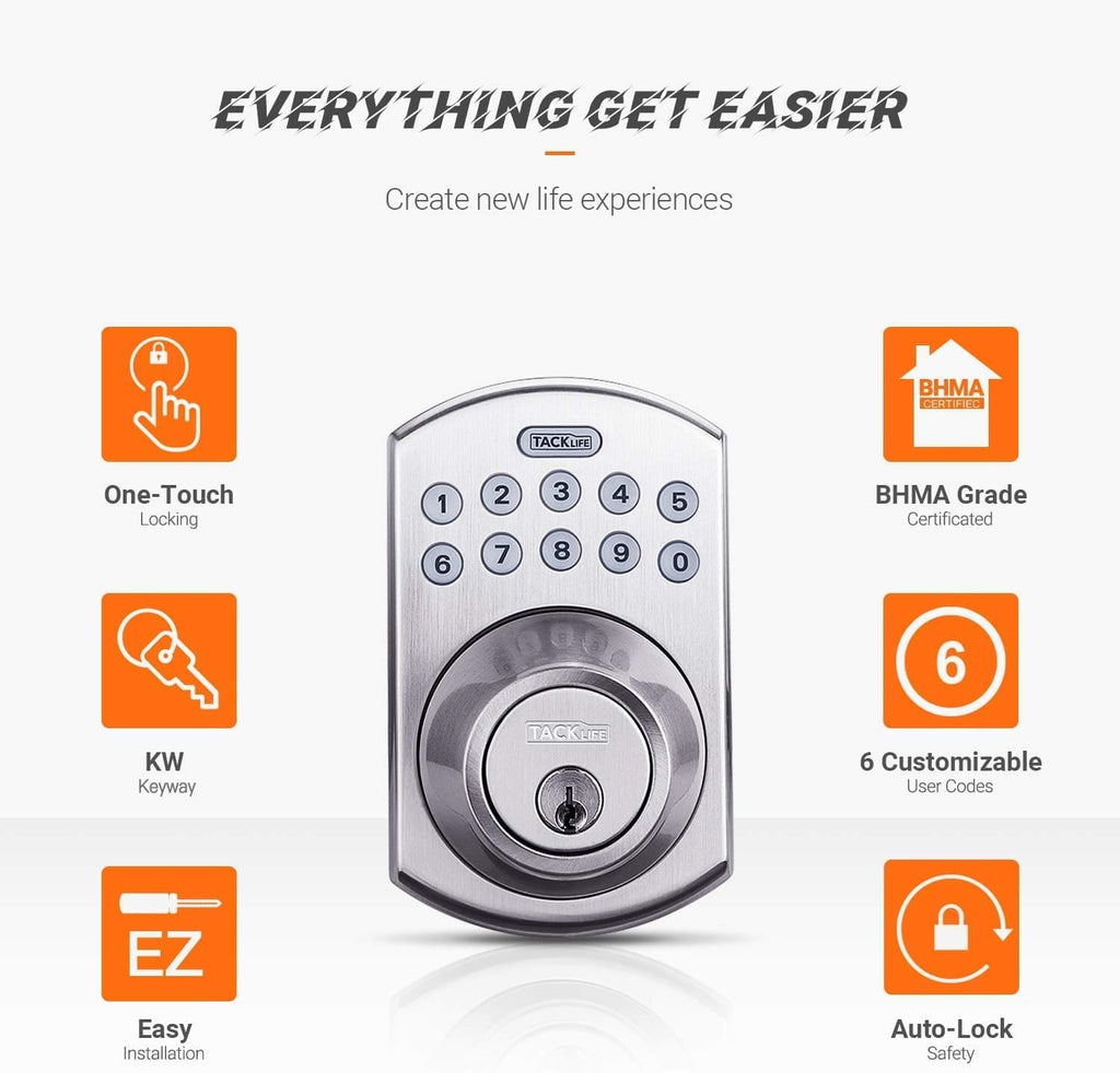 Keypad Deadbolt, Tacklife Electronic Keypad Lock Single Cylinder Front Door Handleset with Polo Knob Featuring - EKPH1A