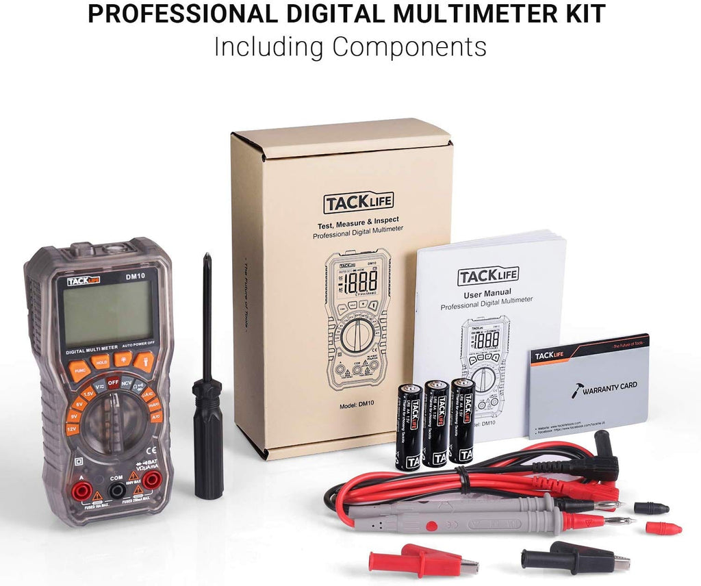 Digital Multimeter, Test Leads with alligator clip, Screwdriver-DM10