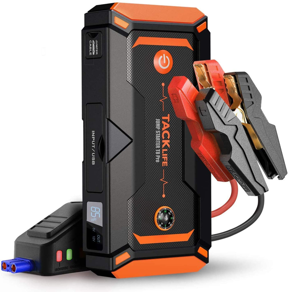 TACKLIFE T8 Pro 1200A Peak 18000mAh Water-Resistant Car Jump Starter (up to 7.0L Gas, 5.5L Diesel Engine) with LCD Screen, USB Quick Charge, 12V Auto Battery Booster, Portable Power Pack
