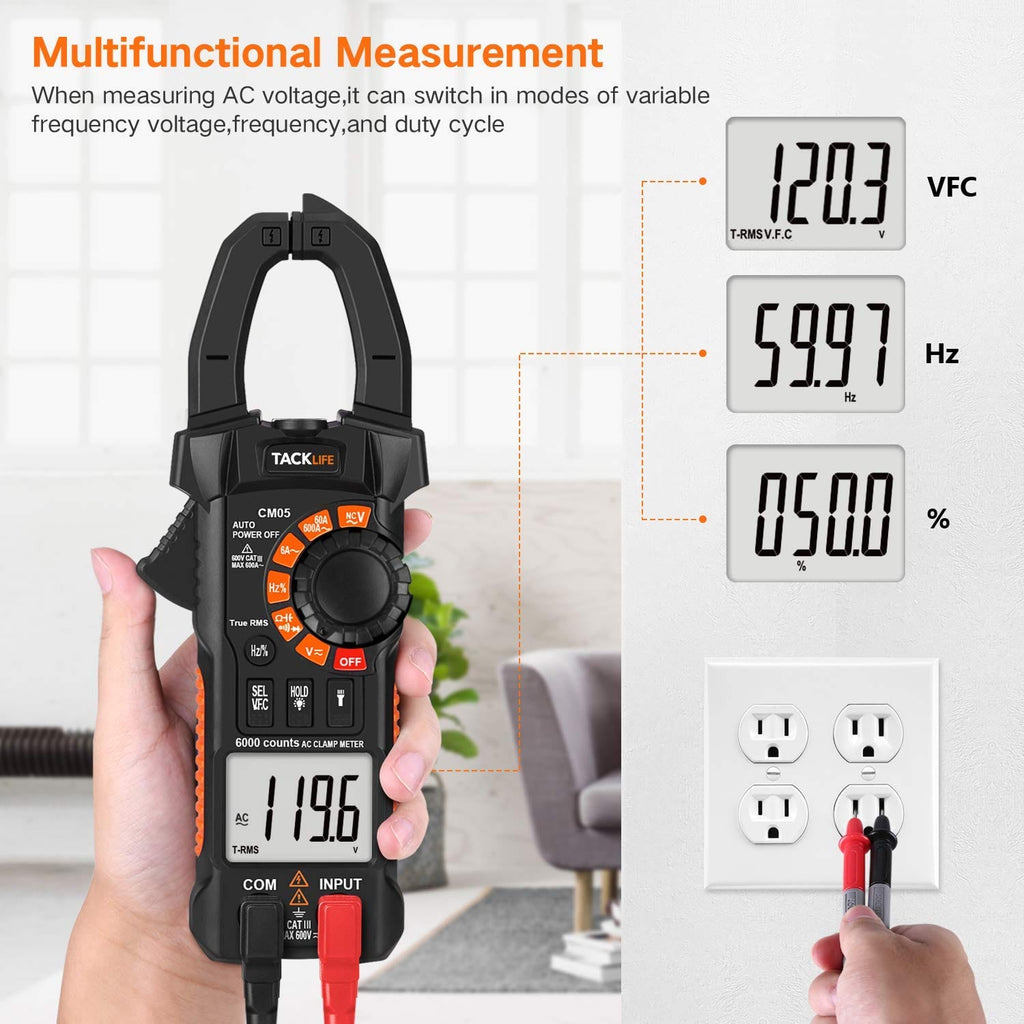 Clamp Meter,Tacklife Clamp Multimeters, 6000 Counts,AC/DC Voltage Tester - CM05