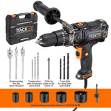 TACKLIFE Hammer Drill with 620in-lb/70N.m Torque, Position Clutch, 15 Drill Bits Set-PID04A