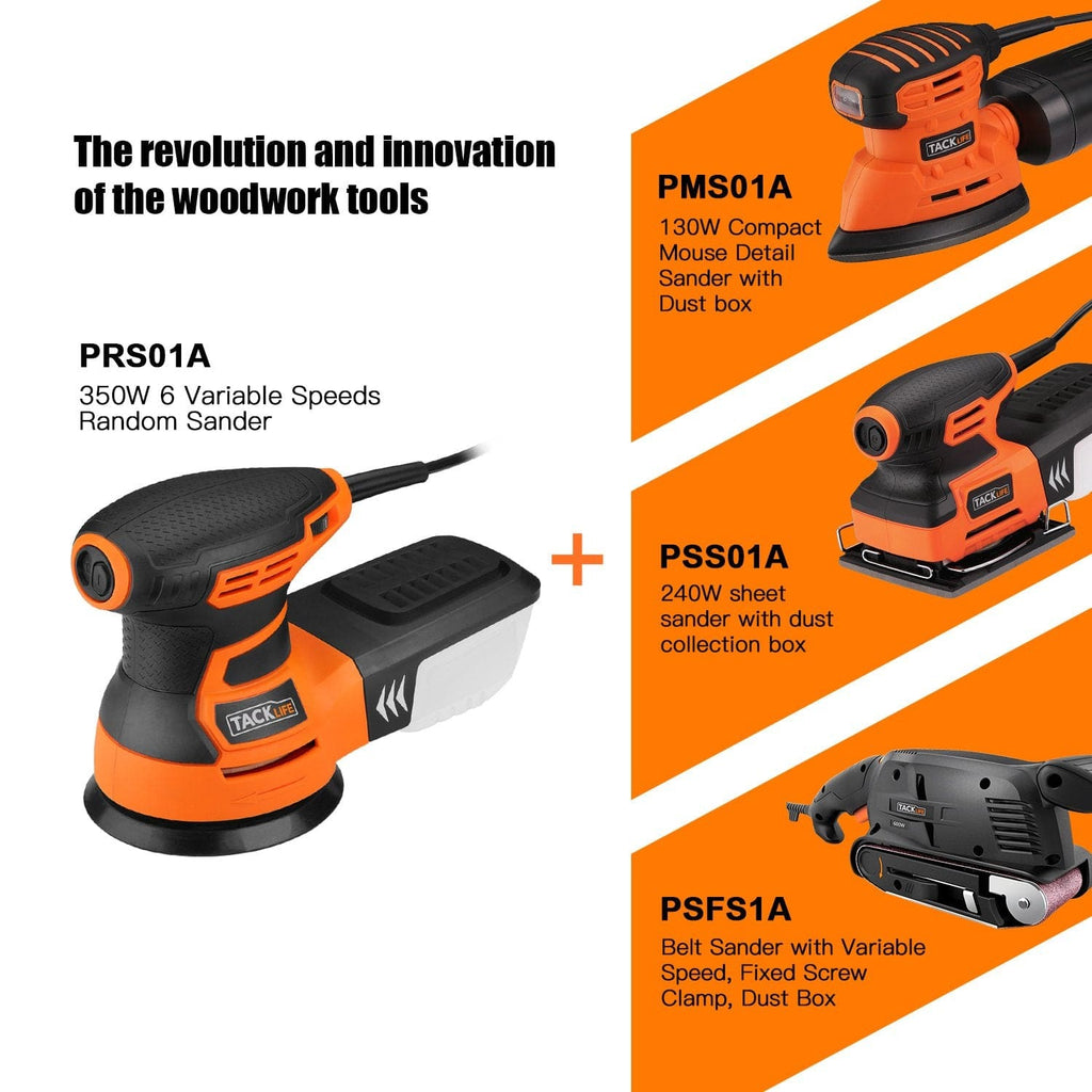 Orbital Sander, 3.0A 5-Inch Random Orbit Sander with 12Pcs Sandpapers, 6 Variable Speed 13000RPM, Dust Collection System-PRS01A