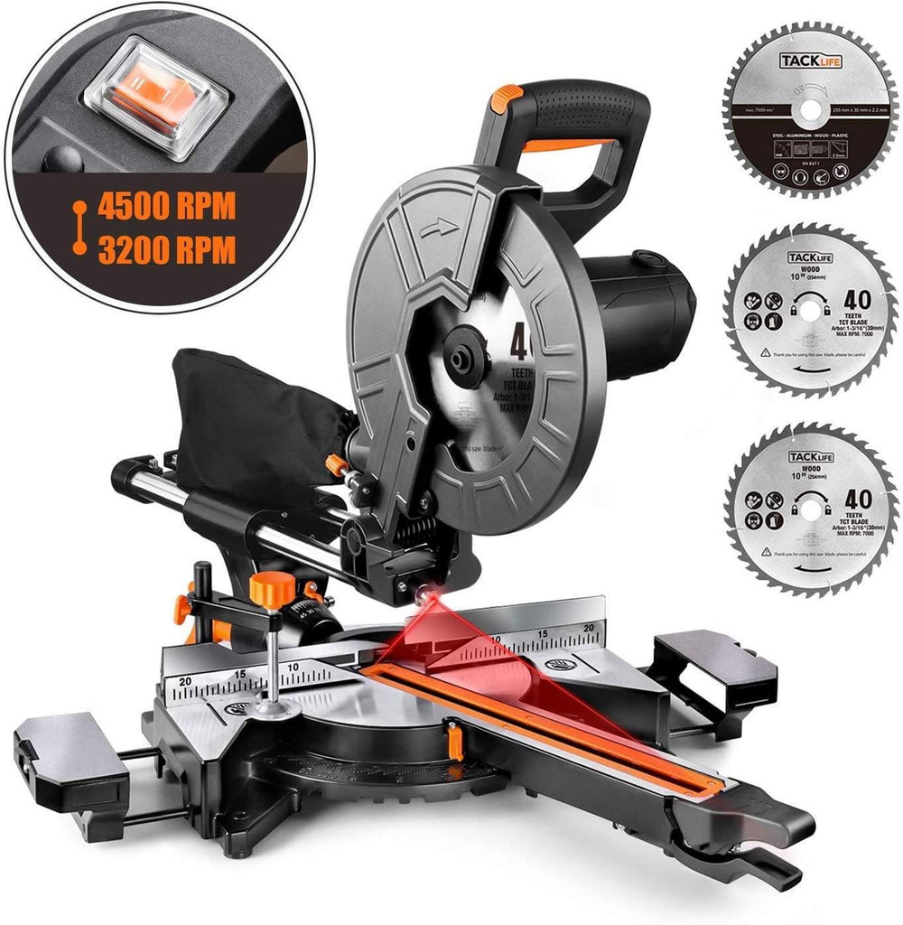 Miter Saw, TACKLIFE 15 Amp 10-Inch Sliding Compound Miter Saw with 3 Blades, Double Speed (4500 RPM & 3200 RPM) - EMS01A