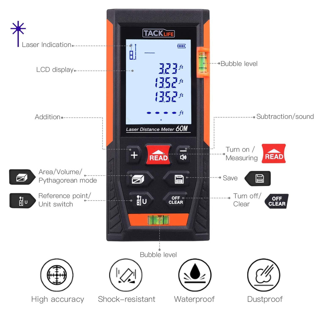 Classic Laser Measure, 196Ft M/In/Ft Mute Laser Distance Meter- HD60