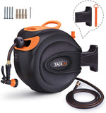 Hose Reel, Tacklife 65+7 FT Wall Mounted Retractable Garden Hose Reel-GHR4A