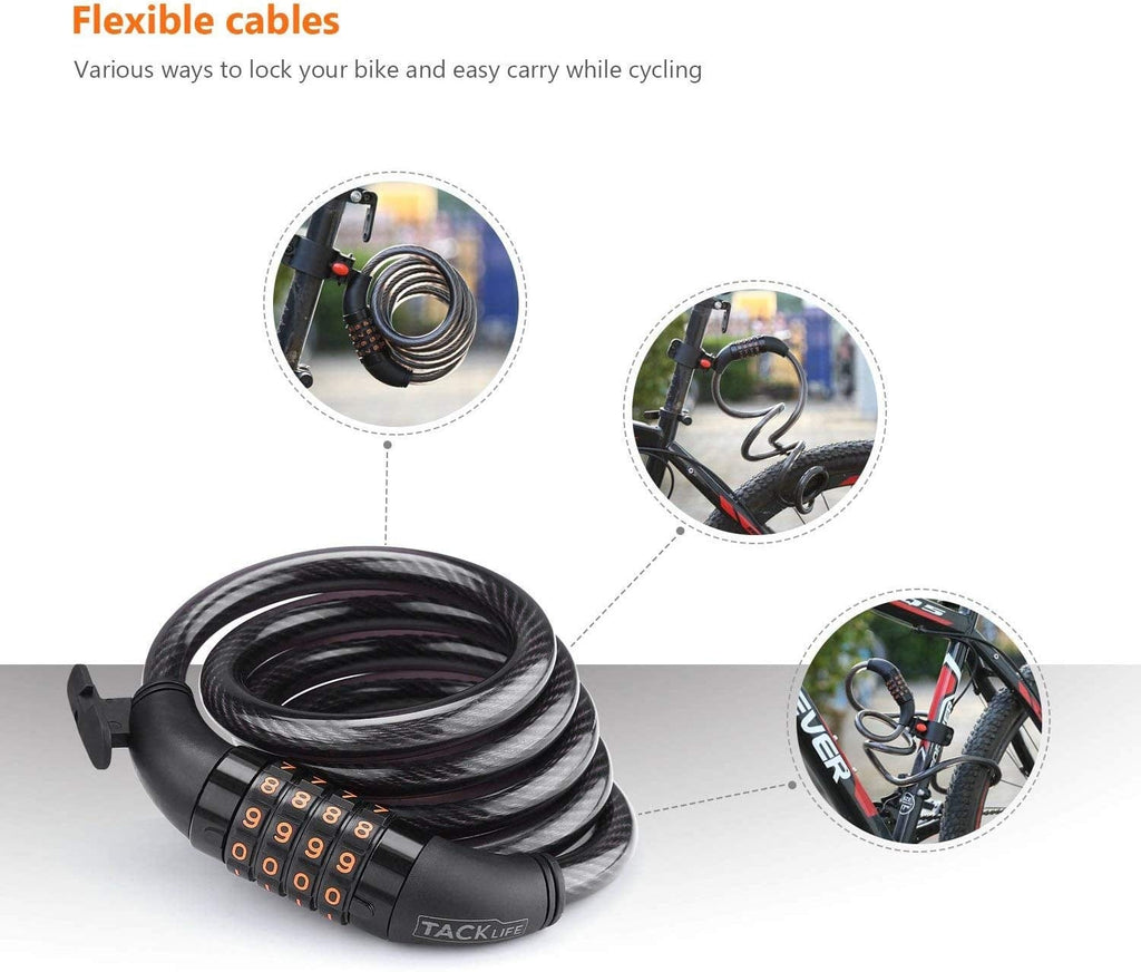 Bike Lock Tacklife HCL1C 4-Ft 1//2Inch Self Coiling Secure Bike Lock Cable